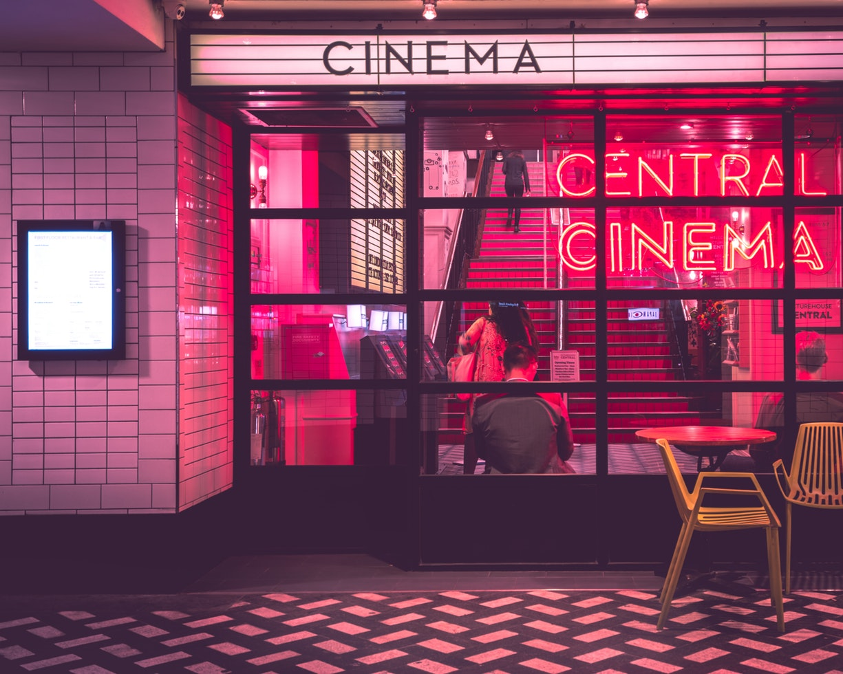 Outside cinema at night