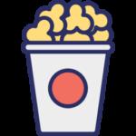 Popcorn in a tub badge